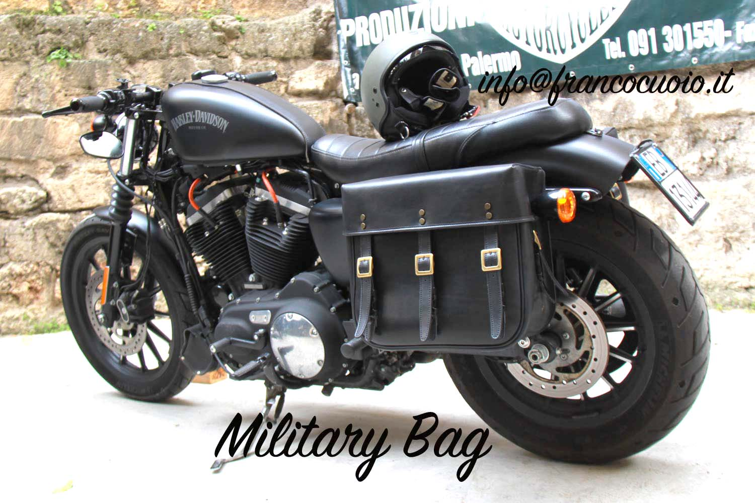 fa1e4e55 Motorcycle bag - WLA Army - Harley Davidson Sportster - Franco Cuoio ...