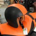 Leather Helmet (black-Orange)