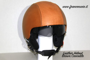 Leather Helmet Brown Crocodile