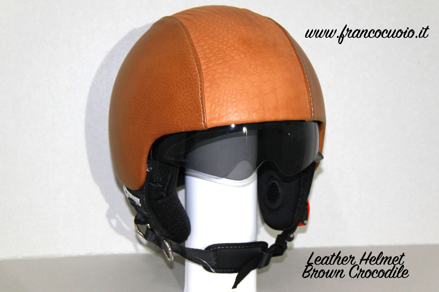 Leather Helmet Brown Crocodile