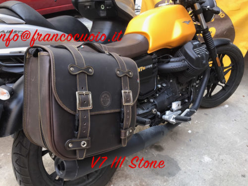 Saddlebag for Guzzi V7 Stone – Low Rider Bag Brown Ext) + Quick Release