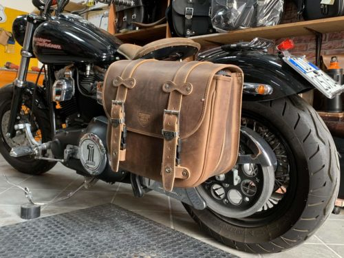 Low Rider Bag Estendibile – Harley Davidson Dyna Super Glide – Brown – supporto fisso